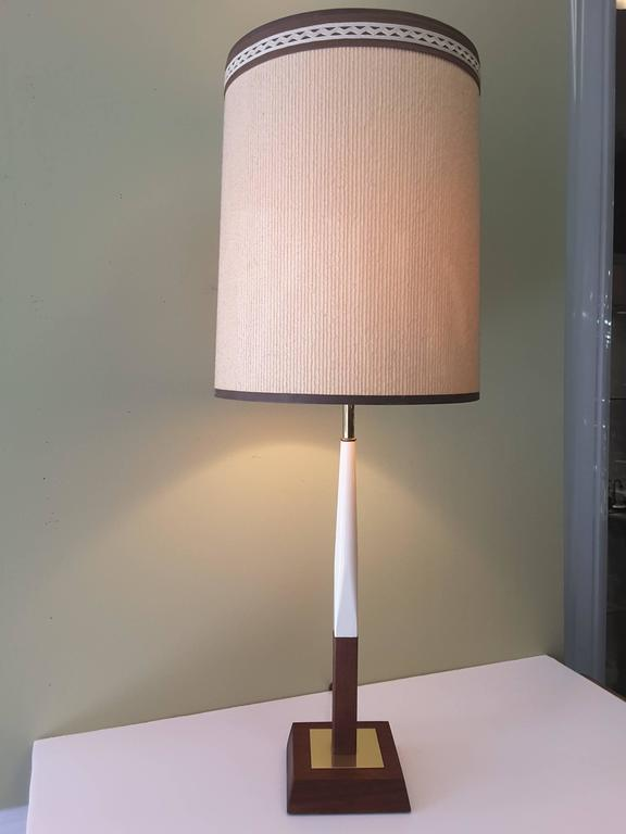 Mid-Century Teak, Brass and Enamel Table Lamp, circa 1960 ...