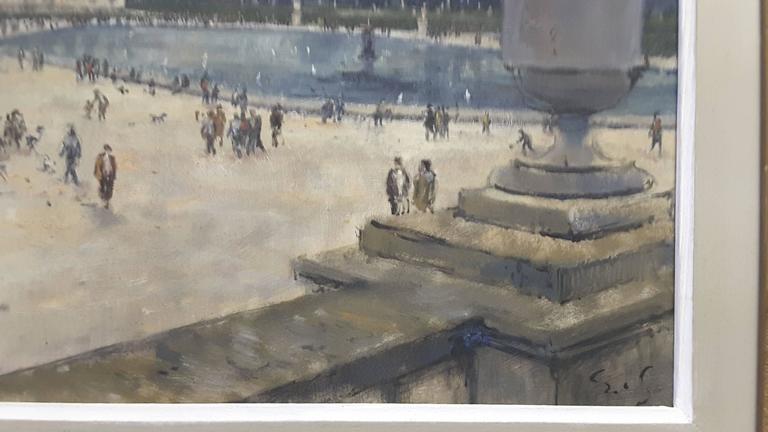 Impressionistic Style Painting of Le Jardin des Tuileries, Paris, France For Sale 1