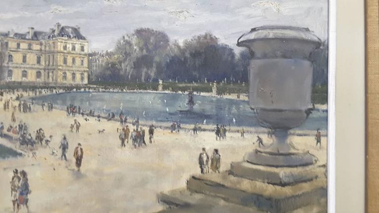 Impressionistic Style Painting of Le Jardin des Tuileries, Paris, France For Sale 2