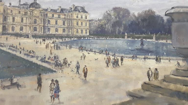 Impressionistic Style Painting of Le Jardin des Tuileries, Paris, France For Sale 4