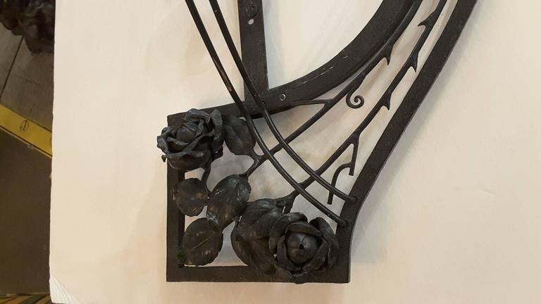 Mid-Century Alabaster and Iron, Wall Sconce with Roses, Vines and Leaves For Sale at 1stdibs