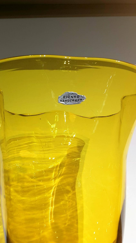 Large Blenko Amber Yellow Ruffle Top Vase Circa 1960 For Sale At 1stdibs