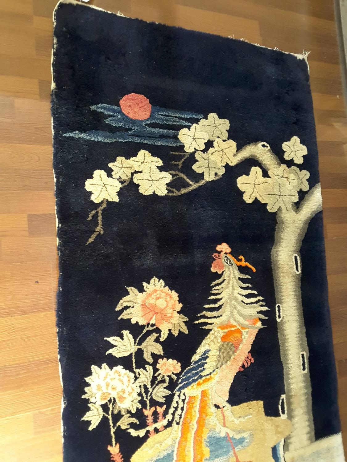 Fine Long Pile Chinese Pictorial Pheasant Rug Baotou Inner