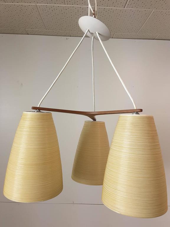 Teak Mid Century Modern Lotte Three Shade Pendant Light