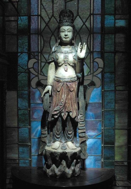 Chinese Carved Wood Standing Figure Of Guanyin In The Ming