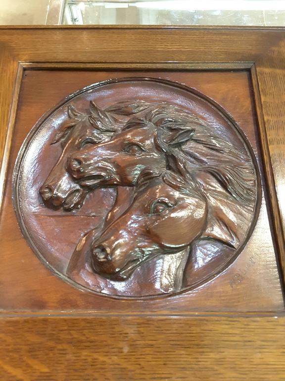 20th Century Nice Three Horse Carved Pine Panel Mounted in Oak Frame Signed W.B.Lintton For Sale