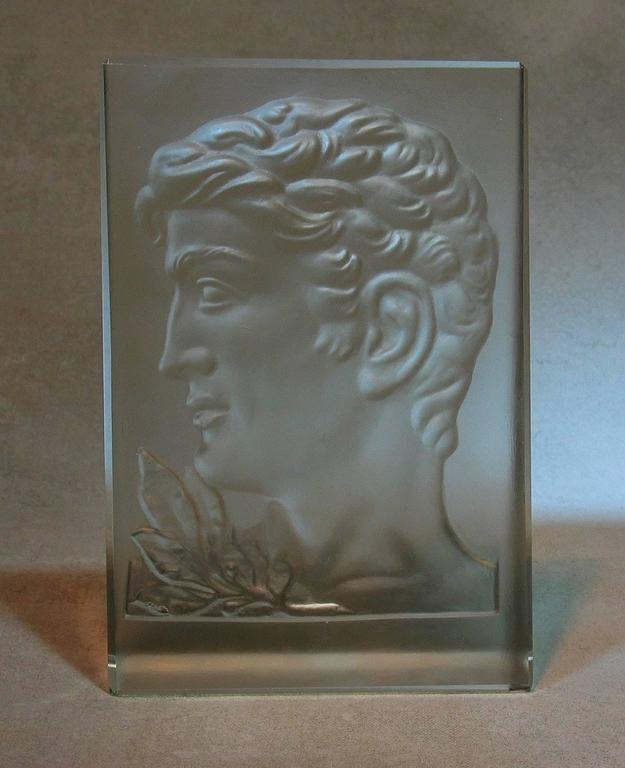 Art Deco Molded Glass Plaque In The Manner Of Rudolf