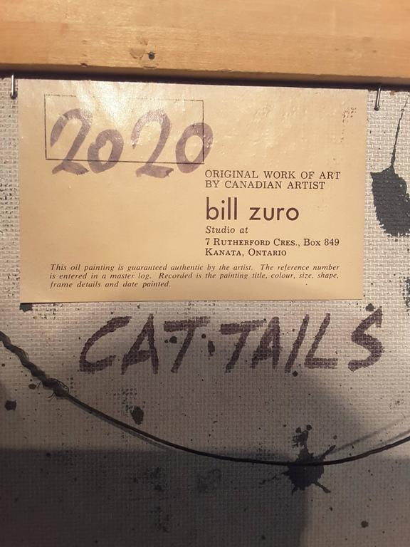 20th Century Bill Zuro Acrylic on Panel, Titled Cat Tails, Canadian Artist For Sale