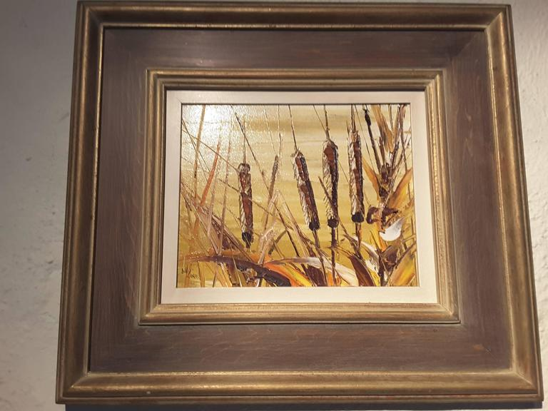 Bill Zuro, acrylic on panel, titled Cat Tails, Canadian artist, original label verso, with information and details. The panel measures 8
