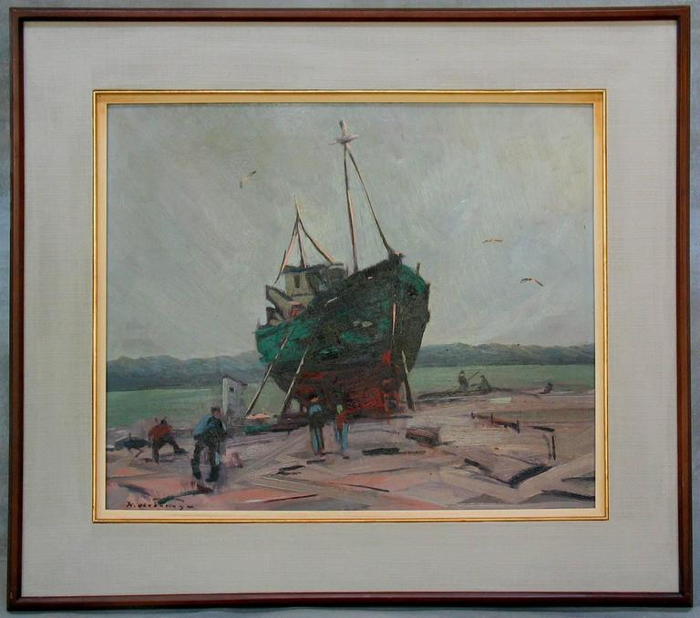 Klement Olsansky Painting, Titled Fishing Boat at Drydock, Canadian, circa 1945 In Good Condition For Sale In Ottawa, Ontario