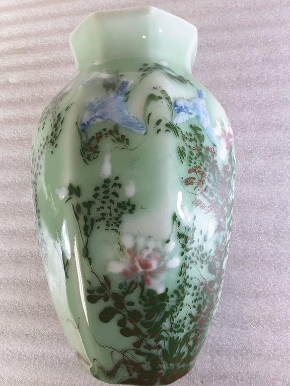 Chinese Celadon Blue Bird And Floral Decorated Hexagon Vase For Sale At 1stdibs