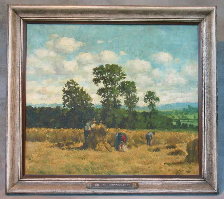 """Georg Egmont Oehme (German 1890-1955) Oil on Canvas, Titled Harvest Time, Signed G. Oehme (lower right). Framed and titled on label """"Erntezeit Georg E. Oehme 1890-1955""""  Condition: The paint shows light craquelure but is stabile and"""