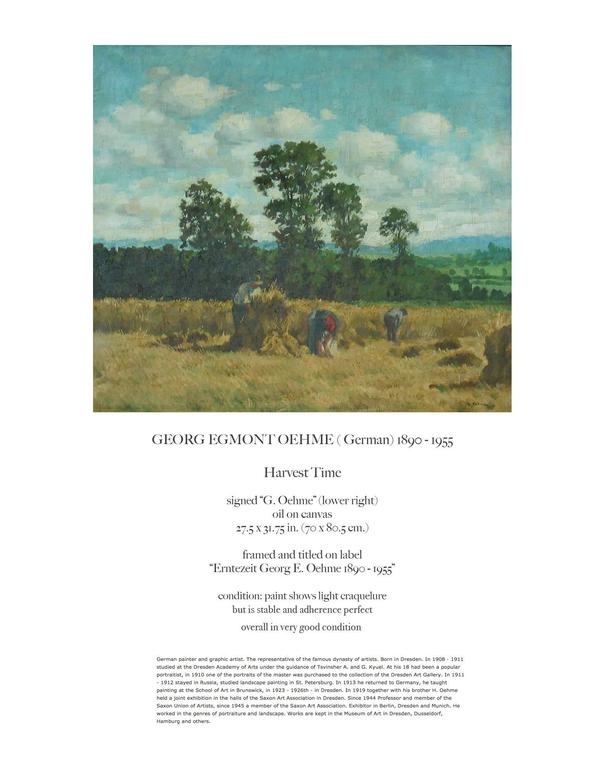 Romantic Georg Egmont Oehme, Oil on Canvas, Titled Harvest Time, (German 1890-1955) For Sale