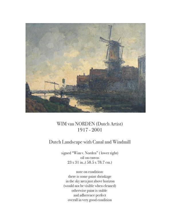 Dutch Colonial Wim Van Norden, Dutch Landscape with Canal and Windmill For Sale