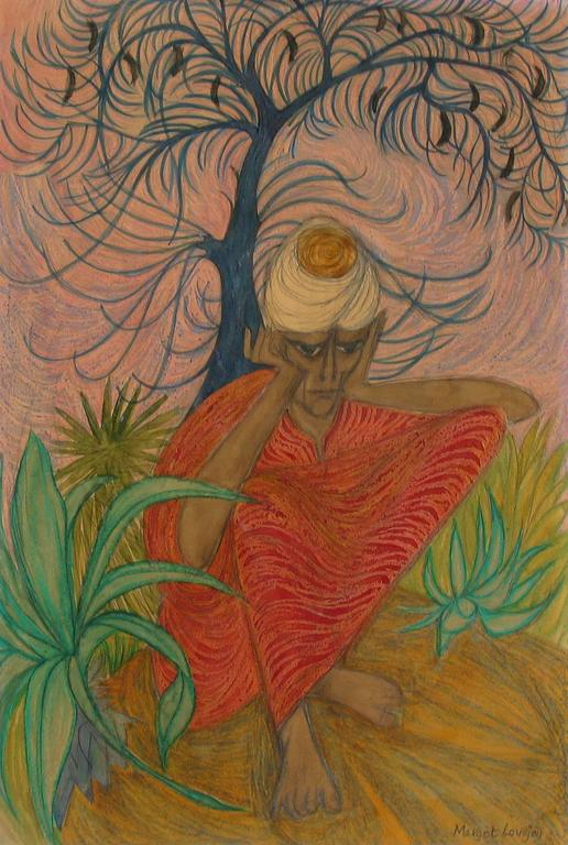 American Indian Ascetic Early Work by Margot Lovejoy, Mixed-Media on Paper For Sale