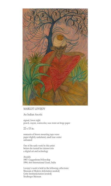 Indian Ascetic Early Work by Margot Lovejoy, Mixed-Media on Paper In Good Condition For Sale In Ottawa, Ontario