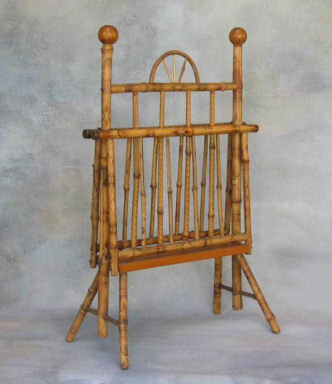 Antique American Bamboo Folding Magazine Rack For Sale At