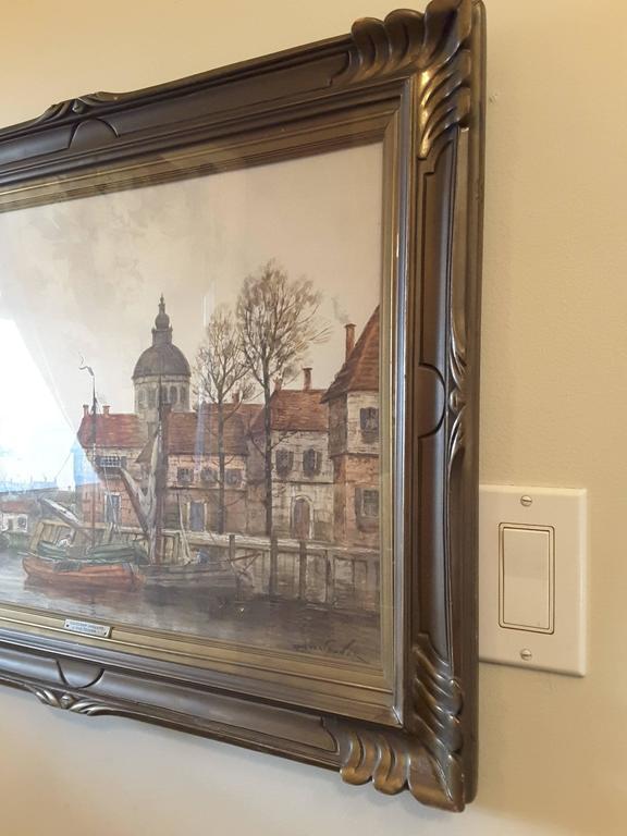 J. Van Couver, Watercolor, Dutch Harbor Scene For Sale 1