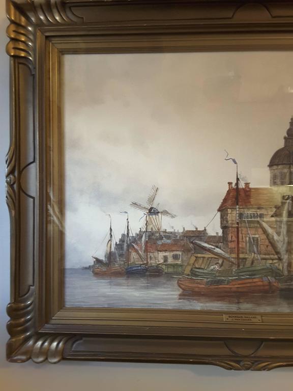 J. Van Couver, Watercolor, Dutch Harbor Scene For Sale 2