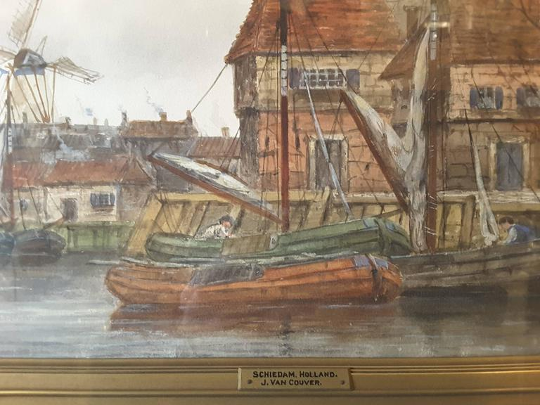 Jan Van Couver, (Hermanus Koekkoek, Jr.)--(1836-1909), watercolor, Dutch harbor scene, A very nice painting of the town, windmill, trees and boats with a figure in the foreground. The painting is mounted in the original frame and has a description