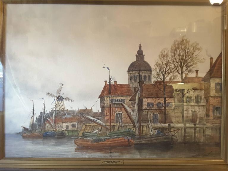 19th Century J. Van Couver, Watercolor, Dutch Harbor Scene For Sale