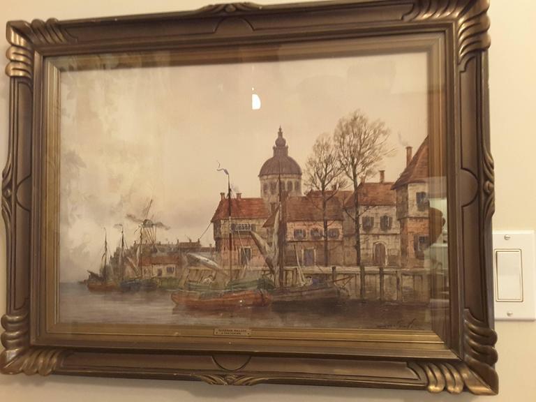 J. Van Couver, Watercolor, Dutch Harbor Scene For Sale 3