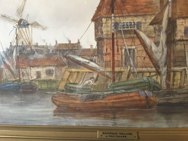 J. Van Couver, Watercolor, Dutch Harbor Scene For Sale 5