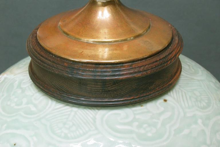 Chinese Export Carved Celadon Glazed