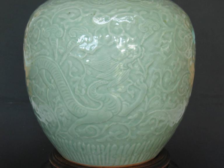Chinese Carved Celadon Glazed
