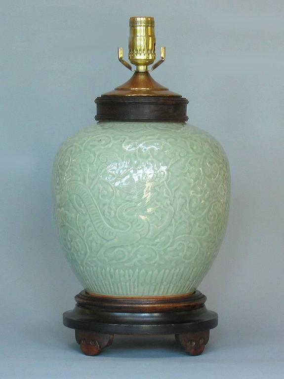 Carved Celadon Glazed