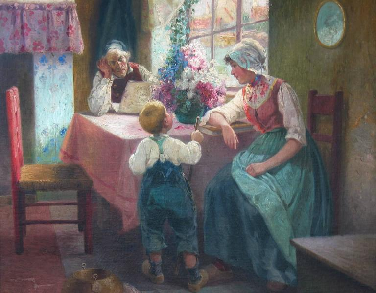 20th Century Superior Dutch Oil on Canvas by Adrian Van Der Hest, Amsterdam For Sale