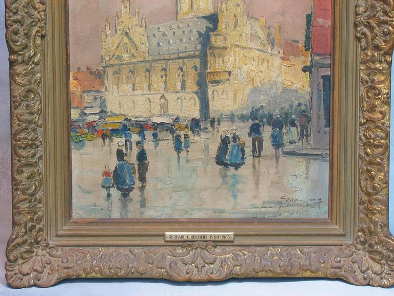 Gerhard Cohn Roemers, Oil on canvas painting (German, 1900-1965), View of Middleburg Town square with Gothic town hall. Signed and titled, lower right, Impressionist work, Executed with a bold impasto technique, Oil on Canvas. The painting measures