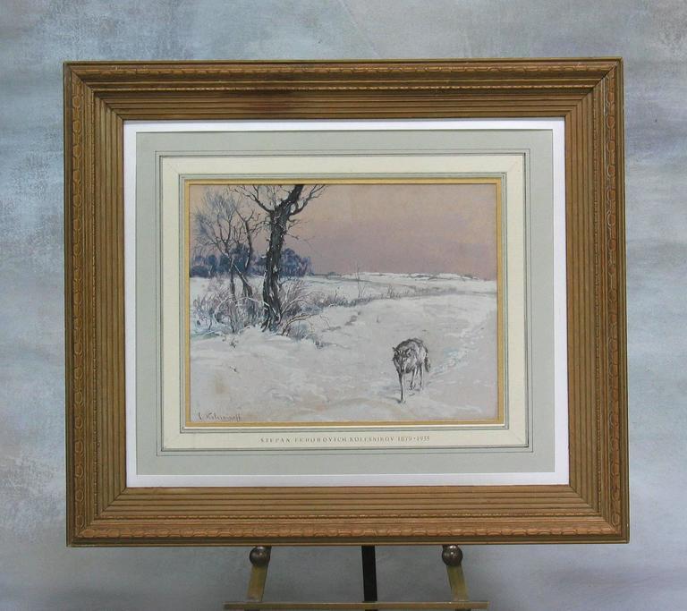 Balkan Stepan Fedorovich Kolesnikov, Lone Wolf in a Winter Landscape For Sale