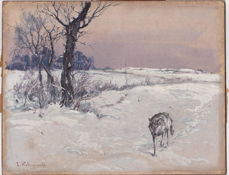 Stepan Fedorovich Kolesnikov, Lone Wolf in a Winter Landscape In Good Condition For Sale In Ottawa, Ontario