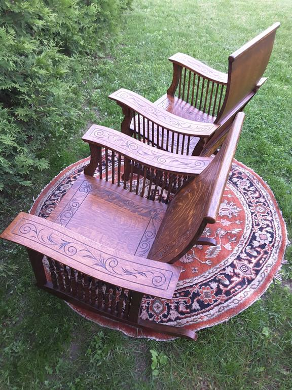Matched Pair of Quarter Cut Sawn Oak Bentwood Carved Chairs For Sale 2