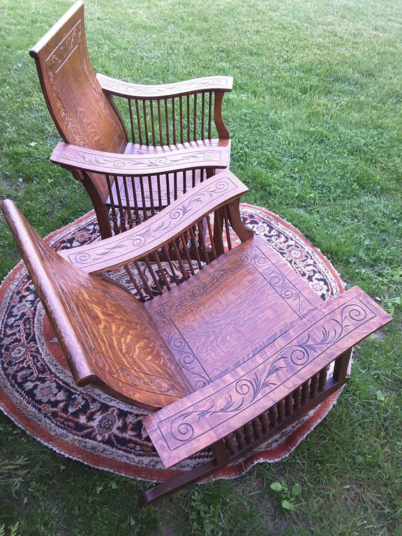 Matched Pair of Quarter Cut Sawn Oak Bentwood Carved Chairs For Sale 4
