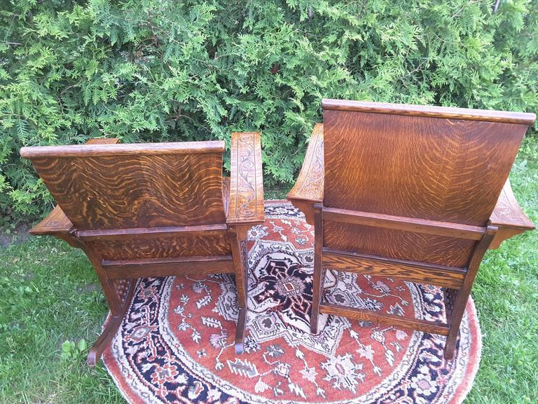 Matched Pair of Quarter Cut Sawn Oak Bentwood Carved Chairs For Sale 3