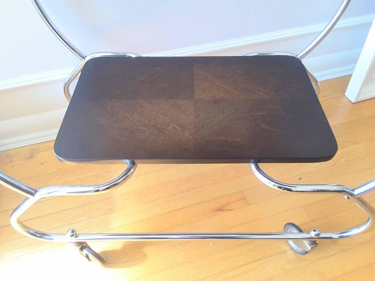 Dutch Bauhaus Vintage Art Deco Bar Cart in Chrome and Oak For Sale