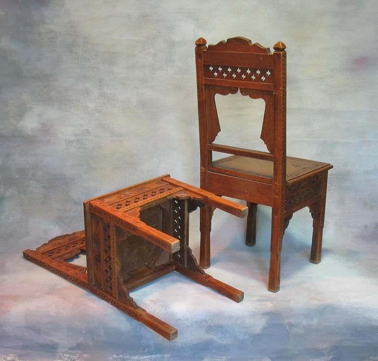 pair of middle eastern carved hardwood side chairs for sale at 1stdibs