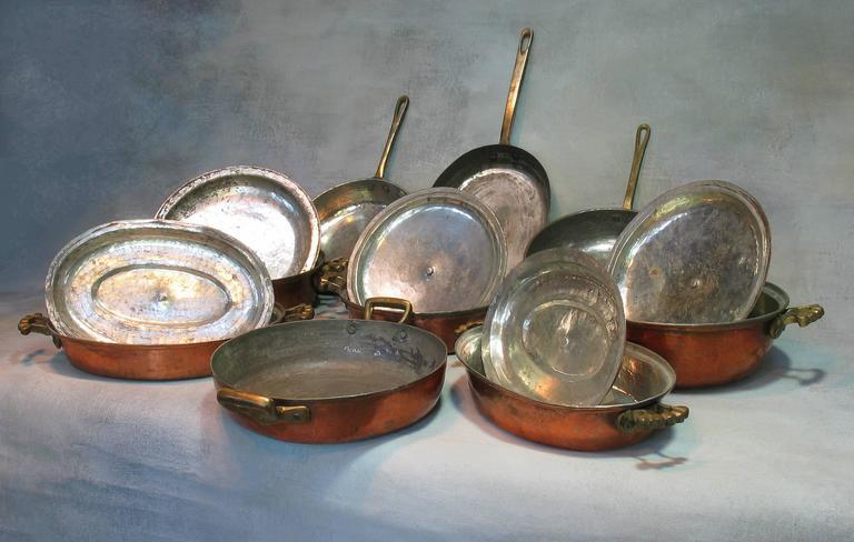 Handmade Mediterranean Copper Cookware Hammered 14 Pcs