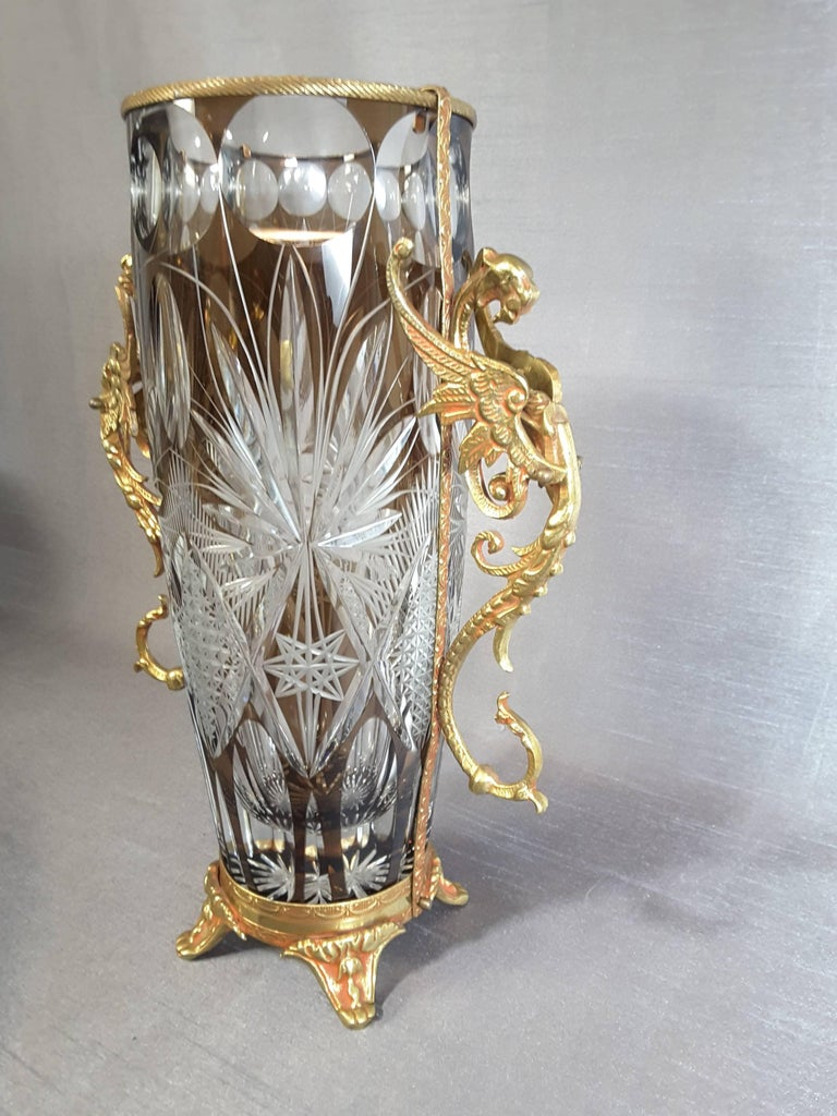 Winged griffin mounted colored cut crystal vase for sale at 1stdibs winged griffin mounted colored cut crystal vase the vase is wheel cut colored crystal in reviewsmspy
