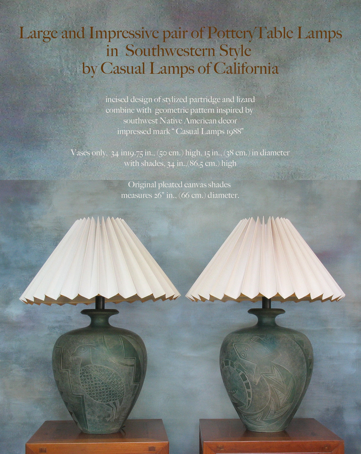 Large pair of southwestern table lamps by casual lamps of california large pair of southwestern table lamps by casual lamps of california for sale at 1stdibs aloadofball Image collections