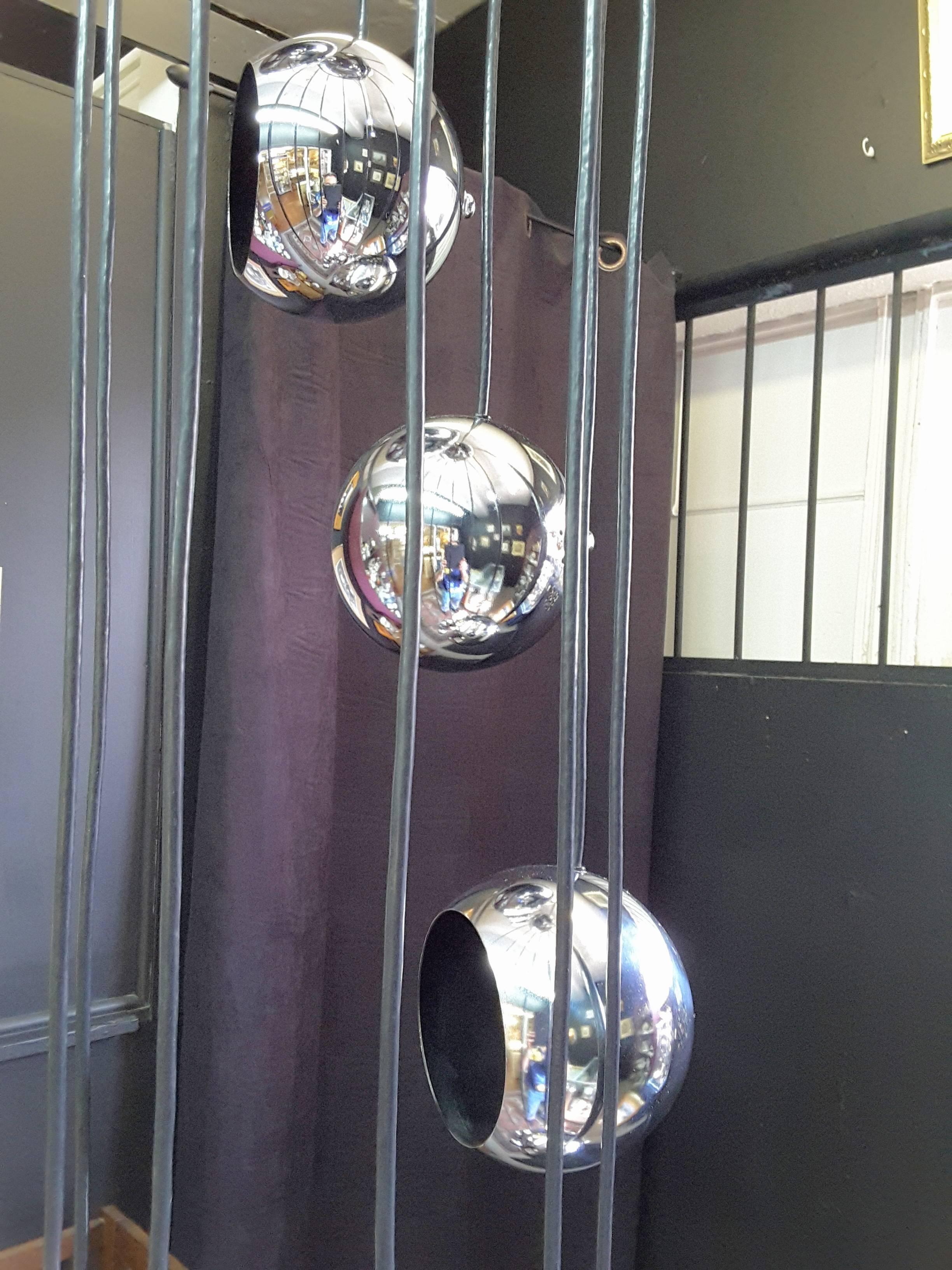 Chrome Ten Ball Spiral Cascading Pendant Swagchandelier For Sale At