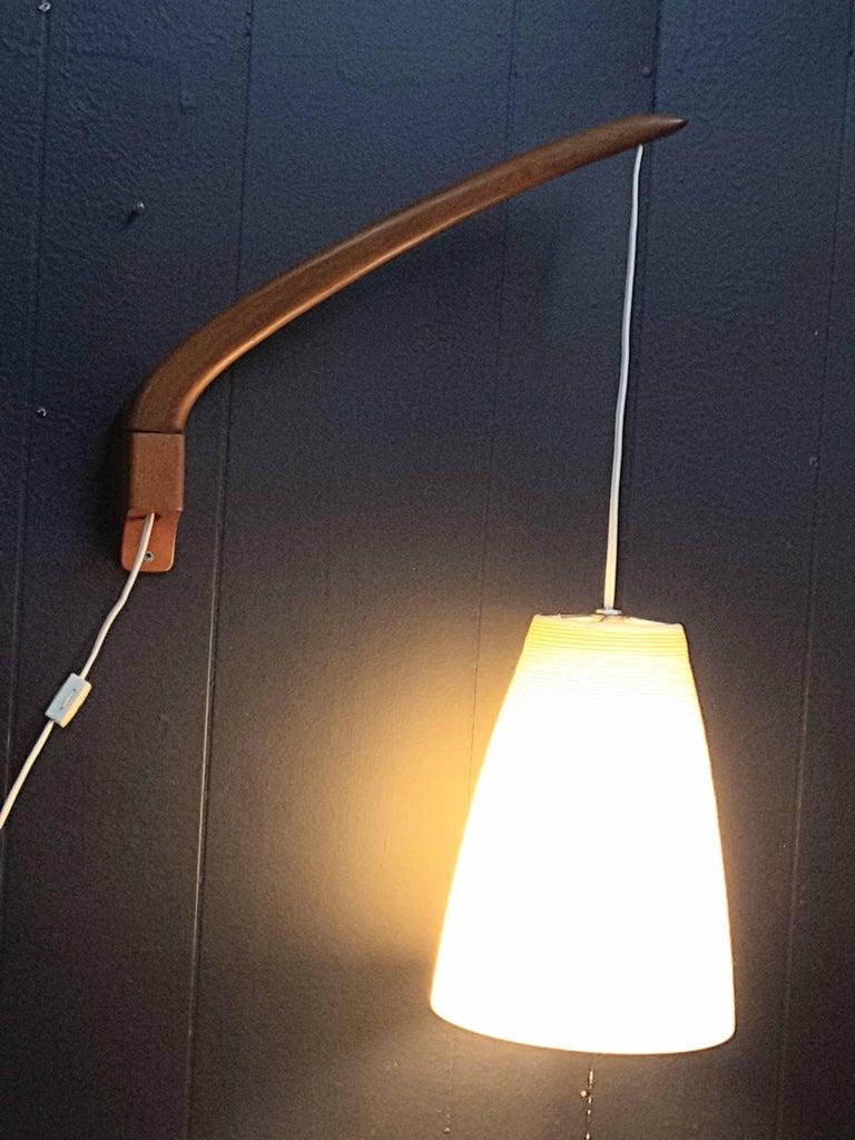 Lotte Teak Mid-Century Swing Arm Adjustable Wall Light For Sale at 1stdibs