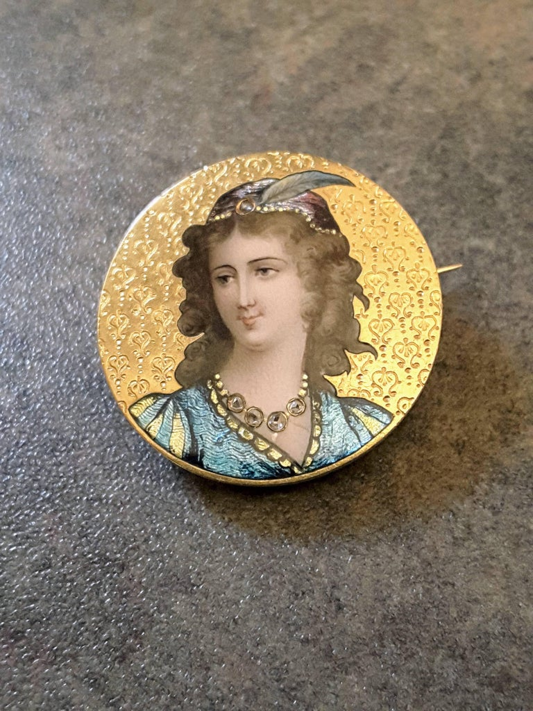 Art Nouveau Enameled and Diamond 14K Gold Brooch For Sale 1