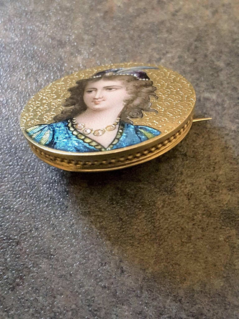 Art Nouveau Enameled and Diamond 14K Gold Brooch For Sale 2