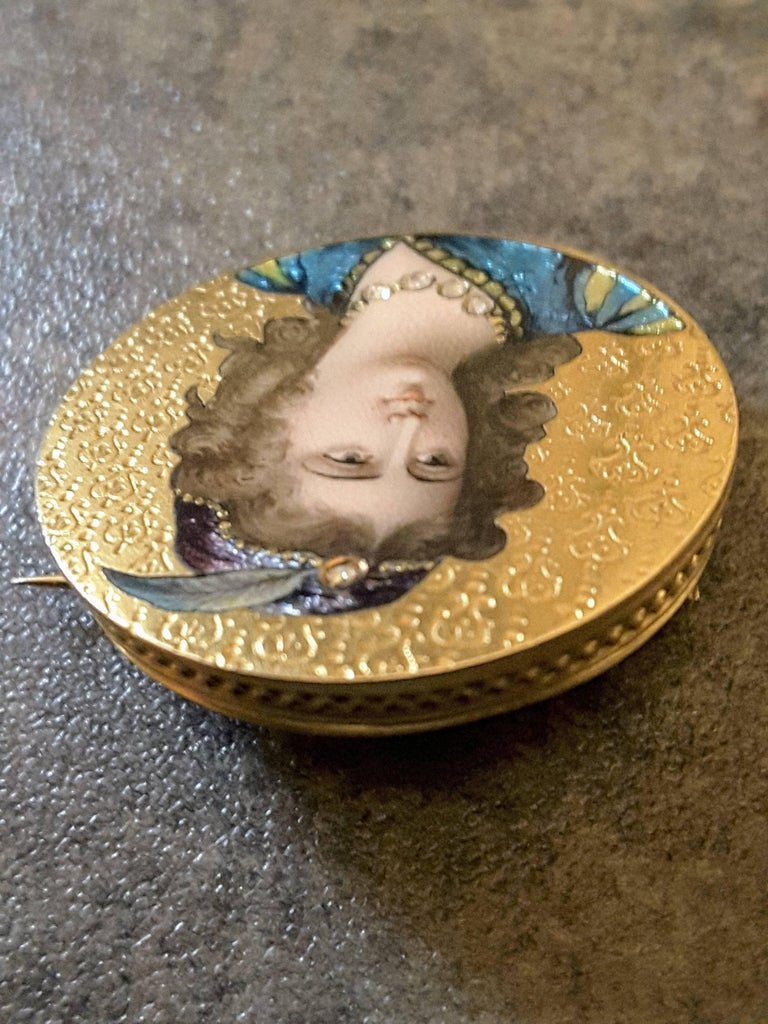 Art Nouveau Enameled and Diamond 14K Gold Brooch For Sale 4