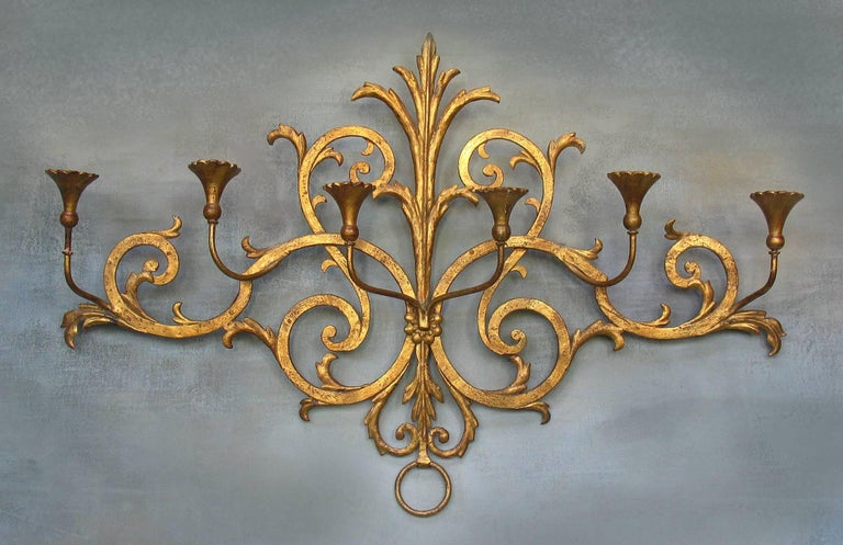 Large Italian Gilt Wrought Iron Six-Light Wall Candle Sconce For Sale 1