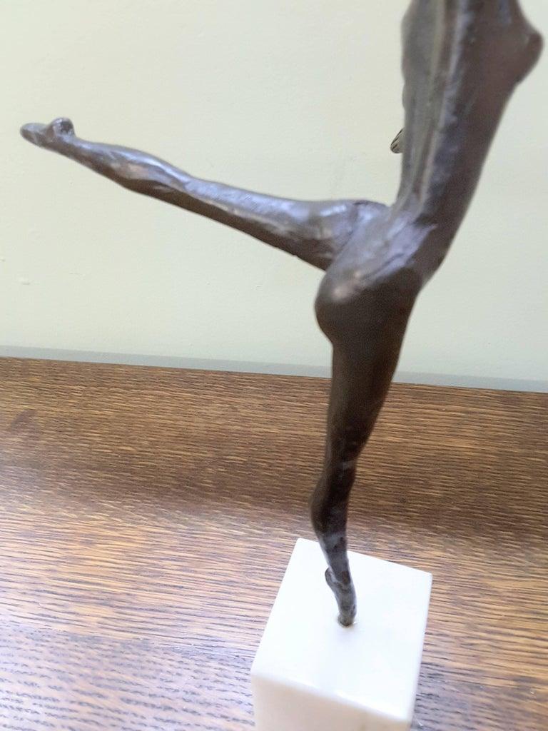 Metalwork Bronze Ballerina on Marble Base Almuth Lutkenhaus For Sale