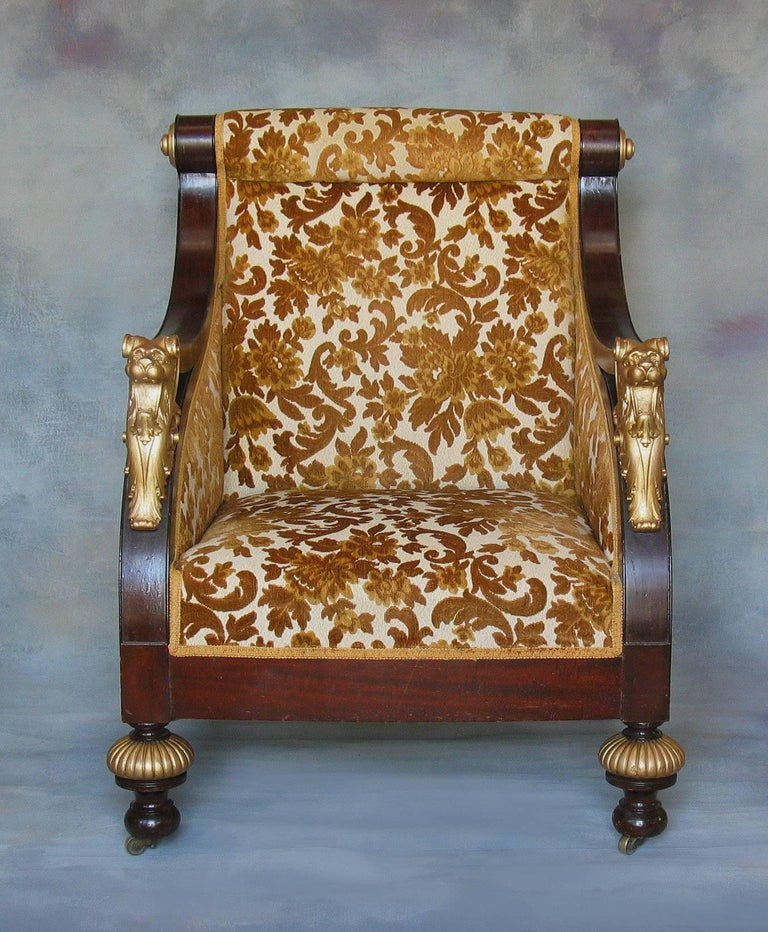 American Classical American Mahogany Parcel-Gilt Bergère Armchair, New York,  circa 1880 For Sale